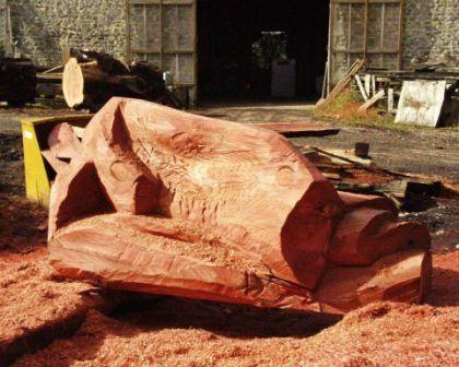 """es bancs - """"drapé"""" - en bois de séquoia"""