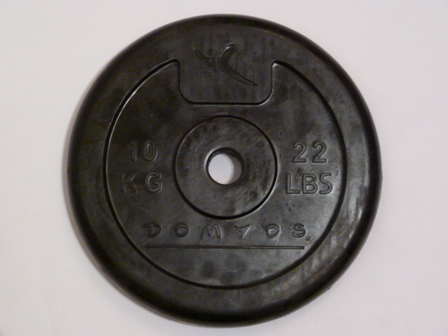 22lbs (10kg) rubber coated weight - rubber coated weights don't gingle when panned quickly
