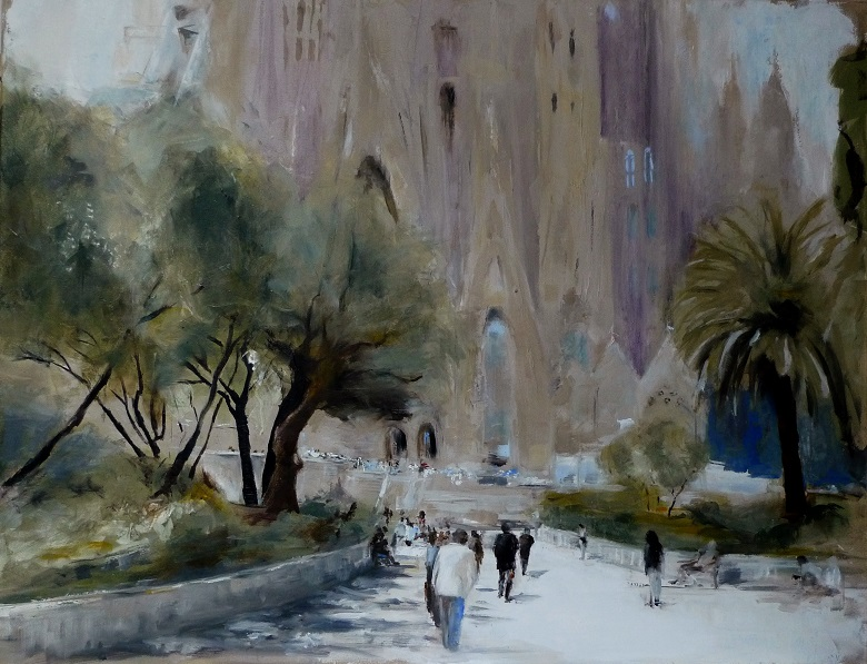 Sagrada Familia, oil/cv
