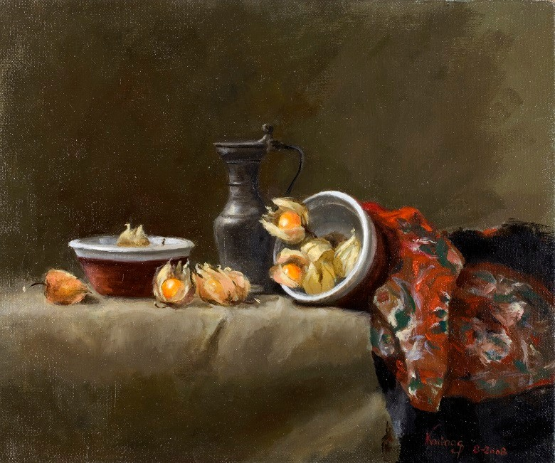 Still life collection, oil/cv