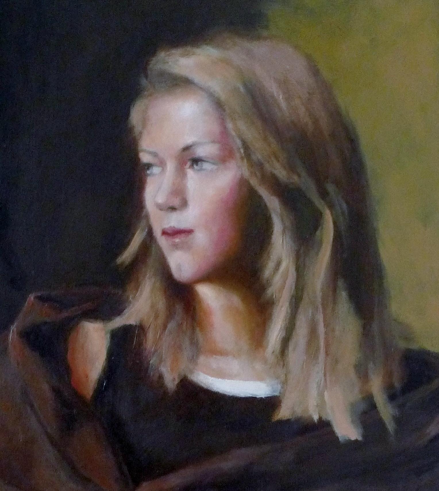 Study of a blond girl, oil/cv