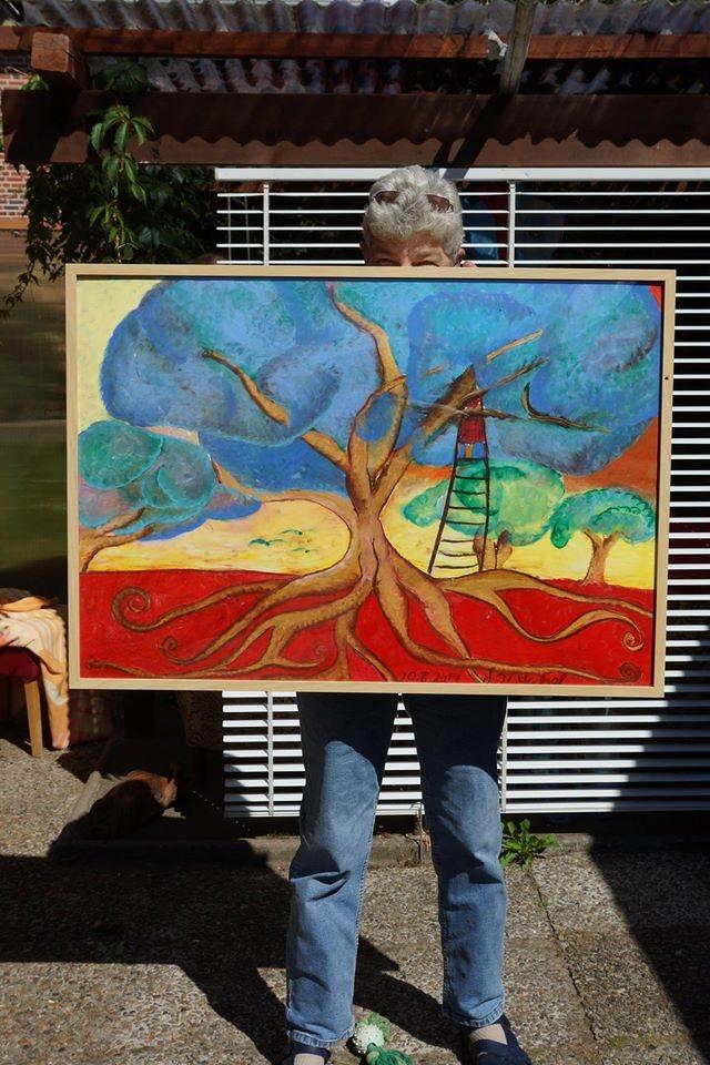 Ute mit *Wolkenbaum* Ölpastell auf Papier im Rahmen (70x100cm)