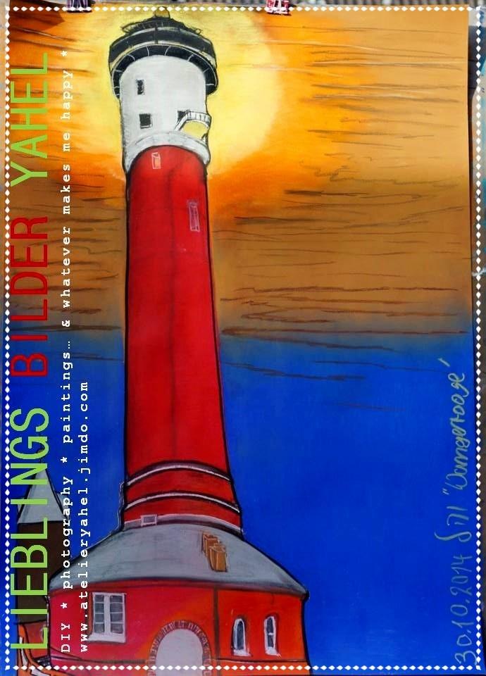 Carmens Leuchtturm auf Wangerooge, Pastellkreide auf Papier, 100x70cm, 2014