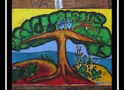 VERKAUFT, Froschkönig, Ölpastell auf Leinwand, 60x40cm