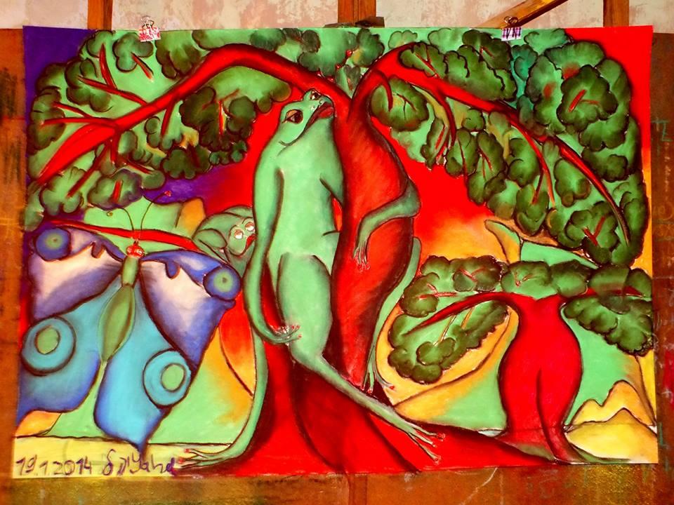 nicht erhältlich, Frogs, Pastellkreide auf Papier, 70x100cm