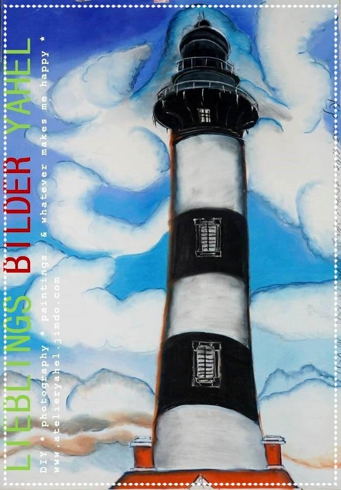Carmens Leuchtturm Bodie Island Outer Banks in North Carolina, Pastellkreide auf Papier, 100x70cm, 2014