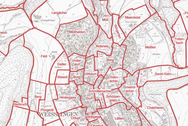Ausschnitt aus dem Flurnamenplan 1:10'000 der Gemeinde Weisslingen