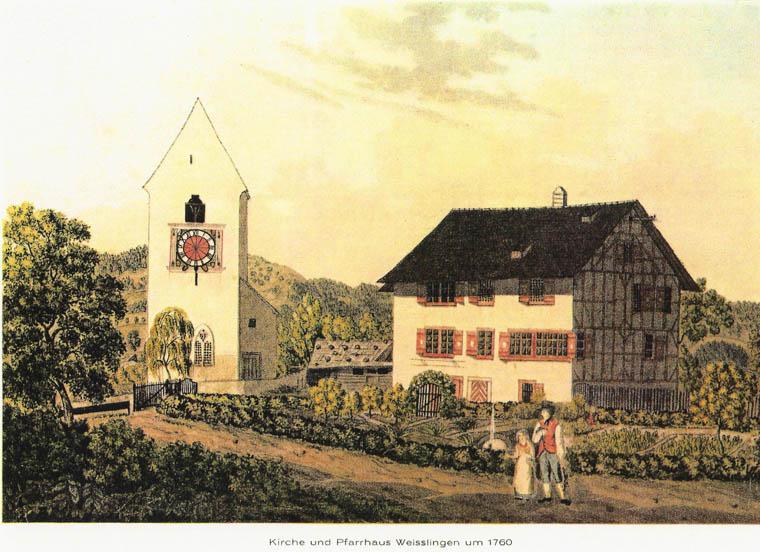 Älteste Darstellung von Kirche und Pfarrhaus um 1760    (Quelle unbekannt)