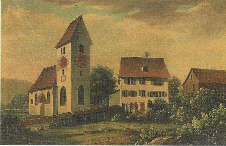 Kirche um 1840  (Reproduktion ab Ölbild von Joh. Ulrich Burri, 1802-1879; in Privatbesitz)