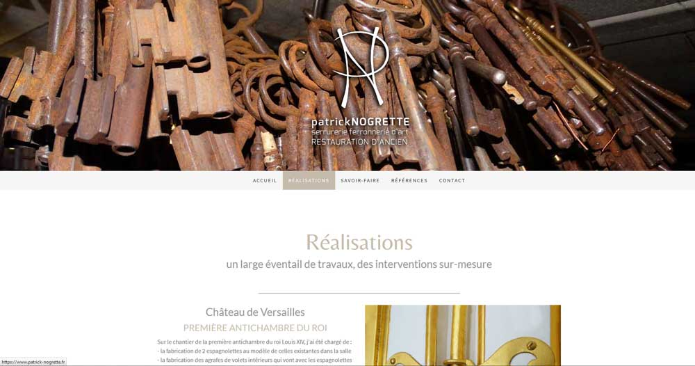 Serrurier et ferronnier d'art   www.patrick-nogrette.fr