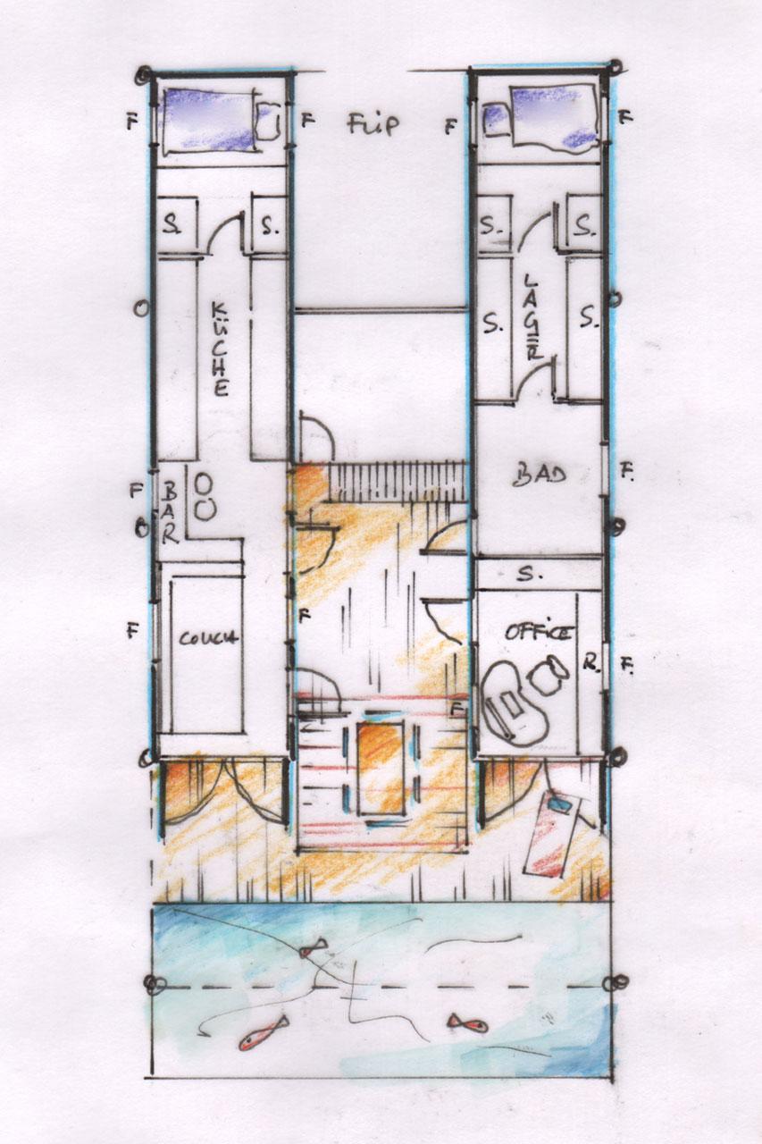 Erste grobe Skizze zur Raumeinteilung und Aufstellung/ Anordnung des Seecontainer- Mikrohauses