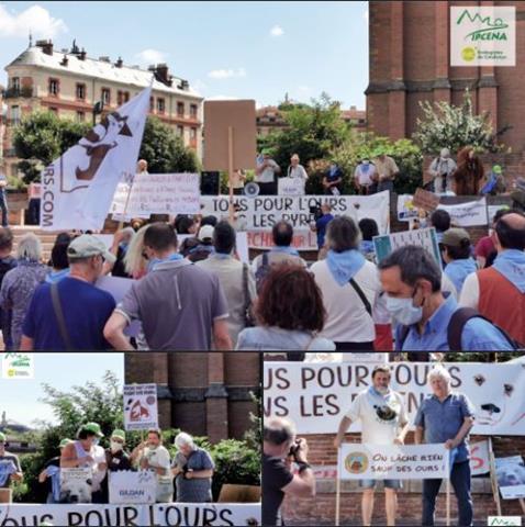 Respresentació de IPCENA-EdC  a Tolosa (Occitània francesa) donant suport a la manifestació a favor dels óssos al Pirineu
