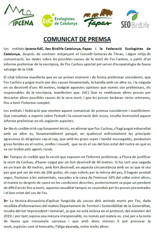 COMUNICAT PREMSA Ipcena, SEO/BirdLife Catalunya, Fapas i Federació Ecologistes de Catalunya - Informe preliminar necròpsia mort Os Cachou