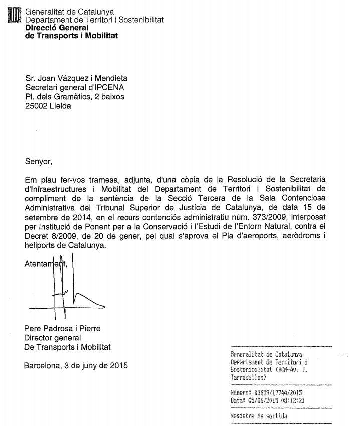 Publicació al DOGC: desmantellament de l'Aeroclub d'Alfés