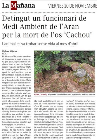 Un agent del Mièi Ambient del Conselh Generau d'Aran, detingut per la vinculació amb la mort de l'ós Cachou
