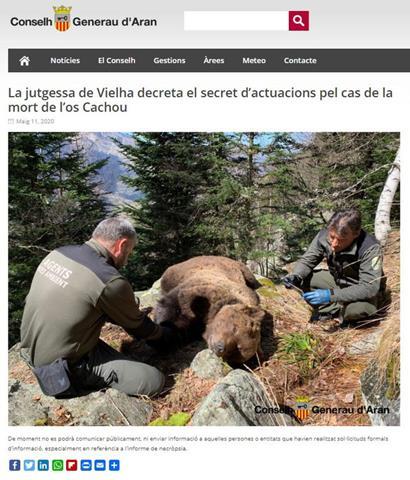 Decreten el secret de sumari en el polèmic cas de la mort de l'ós Cachou