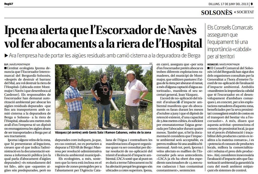 IPCENA denuncia l'Escorxador Intercomarcal del Berguedà-Solsonès