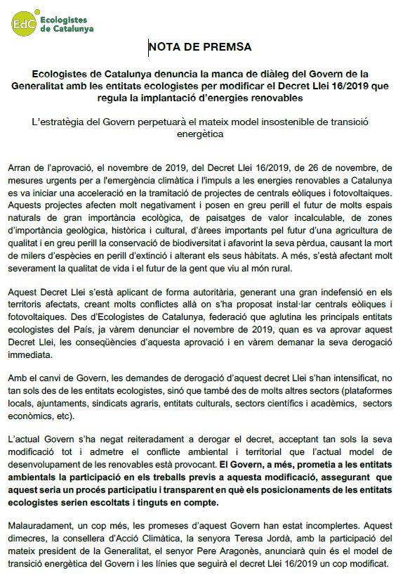 Ecologistes de Catalunya denuncia la manca de diàleg del Govern de la Generalitat amb les entitats ecologistes per modificar el Decret Llei 16/2019
