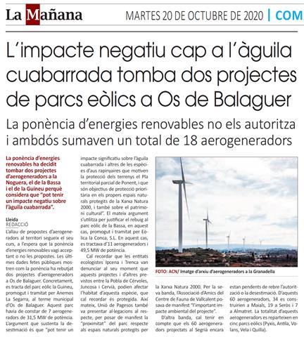 L'impacte negatiu cap a l'àguila cuabarrada, tomba dos projectes de parcs eòlics a Os de Balaguer