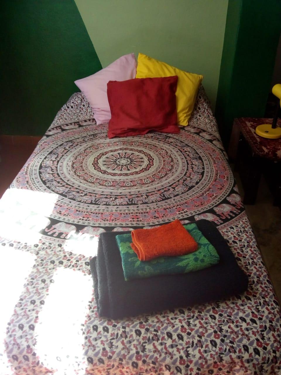 Bett vorbereitet für die Gäste