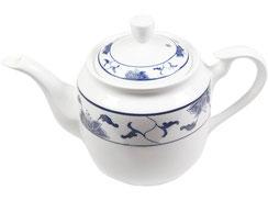 Tekanne mit hohem Deckel aus Tatung, Li, Cameo oder Datung Porzellan mit blauem Lotus Motiv (Motivnr. 518 / 255). In verschiedenen Größen und Motiven erhältlich.