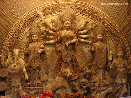 Model of goddess Durga made by the Jute. (Calcutta)