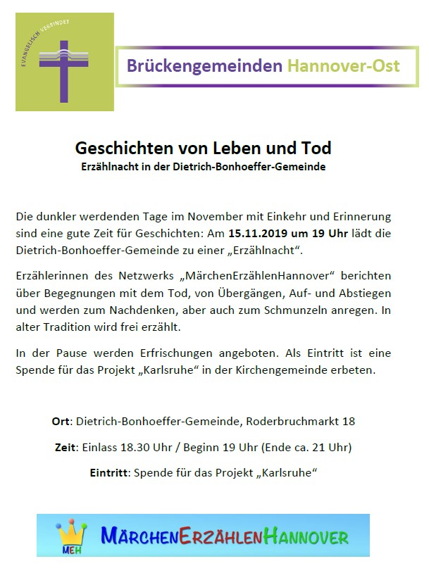 Flyer Erzählnacht Bonhoeffer-Gemeinde