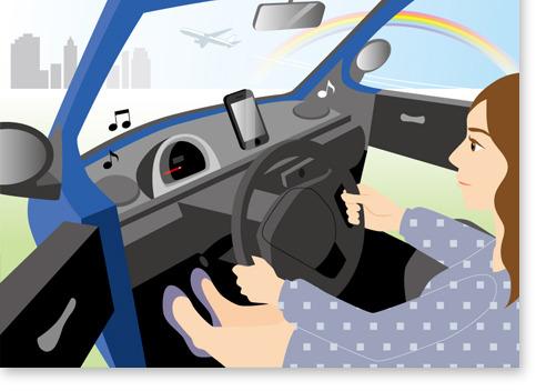 車と女性イラスト、車内、虹、飛行機