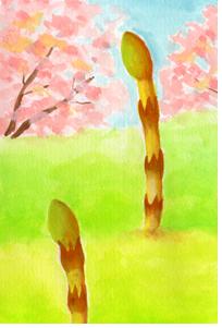 イラスト日記「明日、春の香りが届きます。」つくし、お土産、春の食べ物