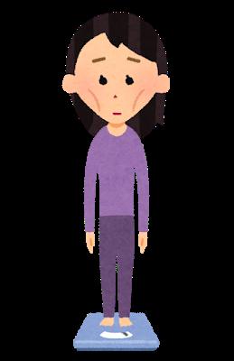 痩せた女性が体重計に乗っているイラスト