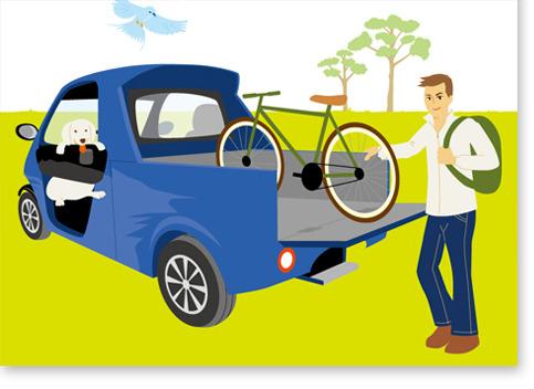 車と男性イラスト、自転車、犬、鳥
