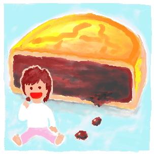 イラスト日記-ミニ月餅おいしいね。-お土産、横浜中華街
