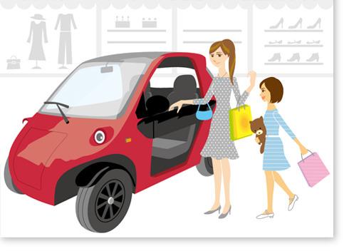 車と親子イラスト、女性、子供、娘、買い物