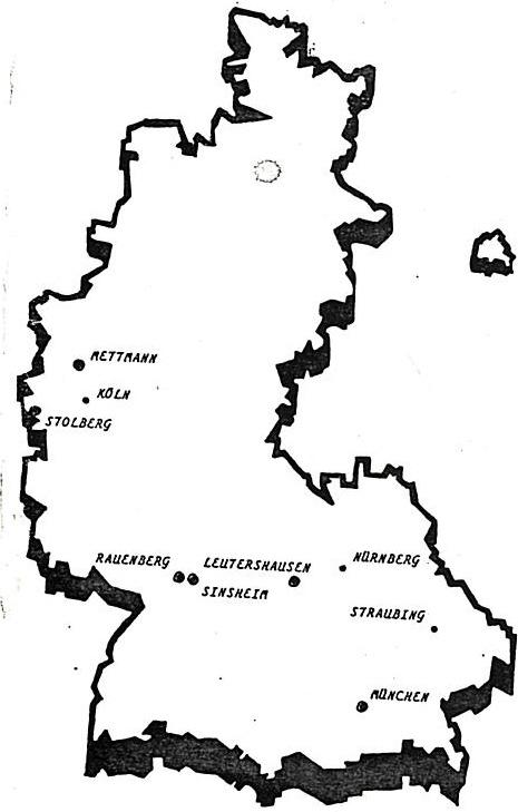 Localisation des clubs de Slot Racing allemands en 1988.
