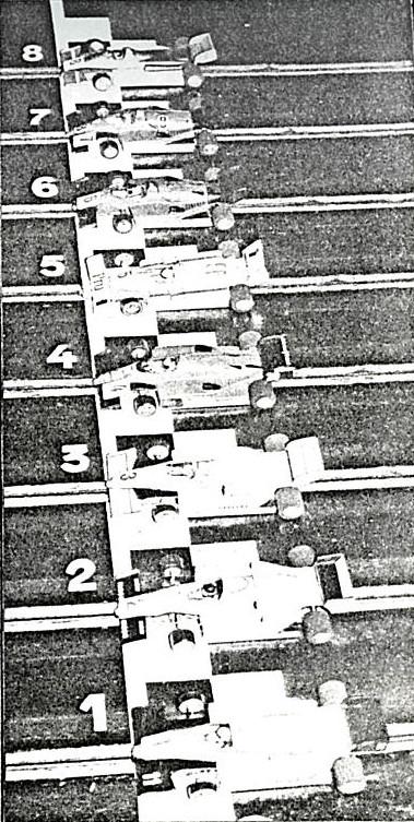 Série Formule 1 au départ du GP de Belgique de Slot Racing 1986