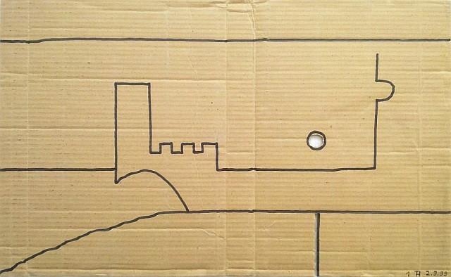 ALLIANZ & ALEX 1999 (Edding auf Industriekarton, 61 x 38 cm, gelocht)