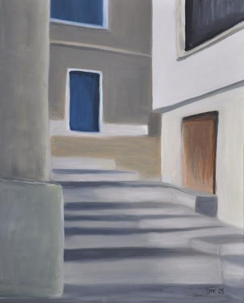 Griechische Treppe, B 40 x H 50 cm, Öl auf Leinwand, 650,-- EUR