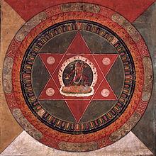 Peint au xixe siècle ce mandala Tibetain de la tradition Naropa, Vajrayogini au centre dans deux triangles rouges entrecroisés, Rubin Museum of Art