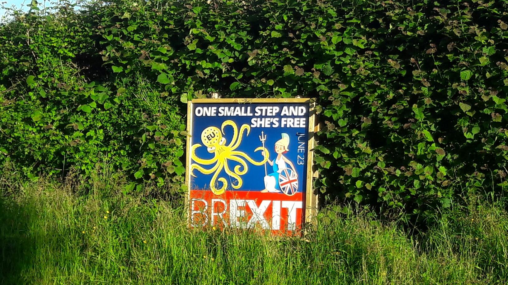 Die Schilder stehen hier überall, mal sehen, wie sich die Briten entscheiden