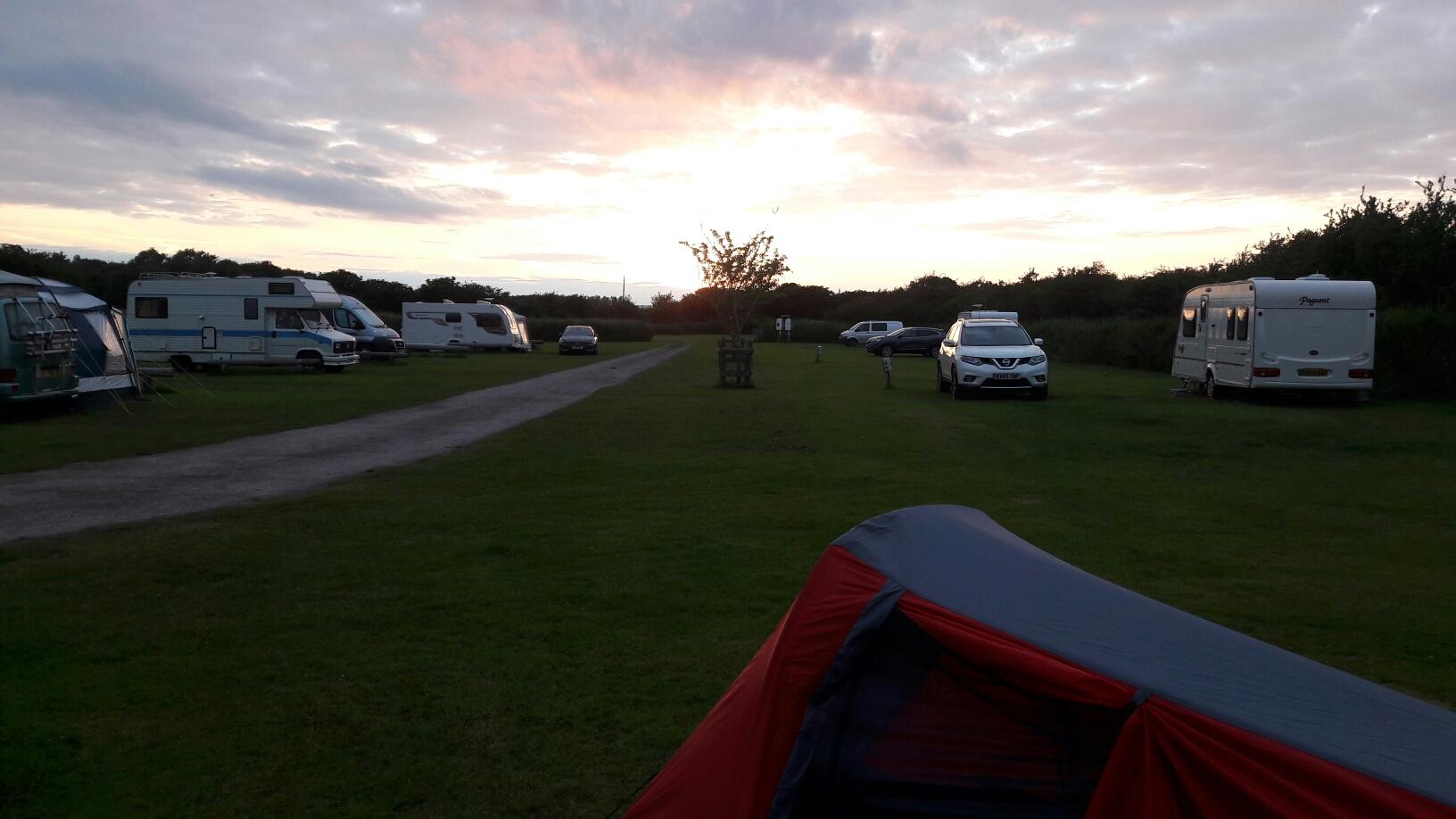Sonnenuntergang auf dem Zeltplatz vonLittlehampton