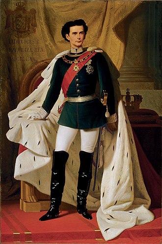 König Ludwig II. von Bayern in Generalsuniform mit dem Krönungsmantel - Ludwig II. im Alter von 20 Jahren. Gemälde von Ferdinand Piloty, 1865