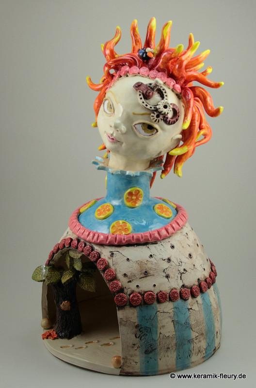 Steampunk-Lady Keramik Skulptur