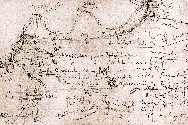 In einer Sommernacht im Jahr 1893 skizzierte er nach einer Wanderung seine Idee für den Bau der Jungfraubahn.