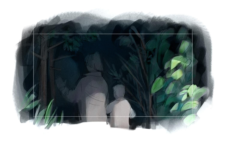 Die Besucher tasten sich in den nächtlichen Wald vor, ...