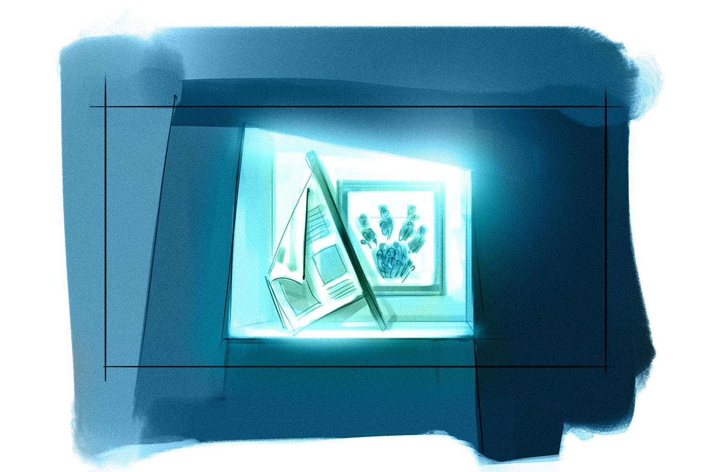 """Spiegelflächen verwandeln sich zu Vitrinen mit Objekten """"alltäglicher"""" Genossenschaften."""