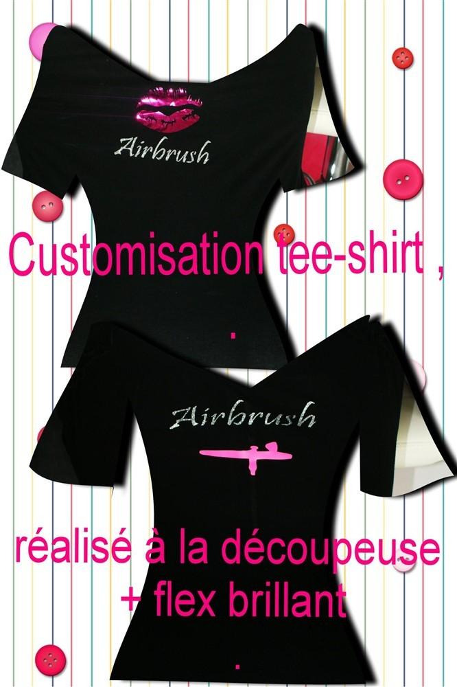 Customisation tee-shirt ( réalisé à la découpeuse avec un flex argenté et fluo)