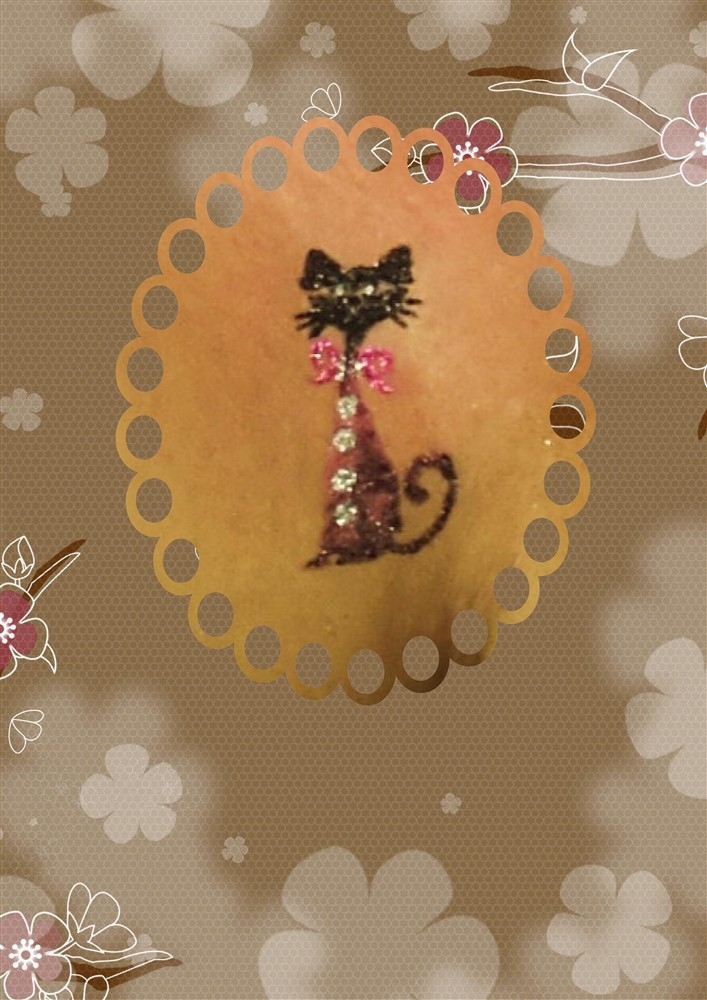 "Tatoo paillettes ""Chat"""