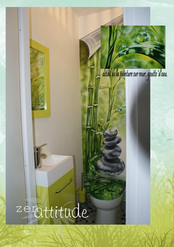 """Toilette """"Zen Attitude"""" sur mur placo et abattant Wc."""