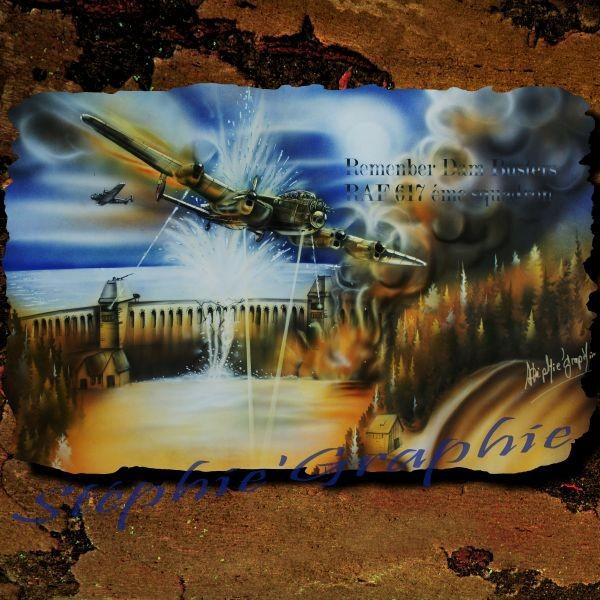 """""""DAM BUSTERS"""" sur papier spécial aérographe , 50x70cm.(étude pour travail sur blouson cuir aviateur"""