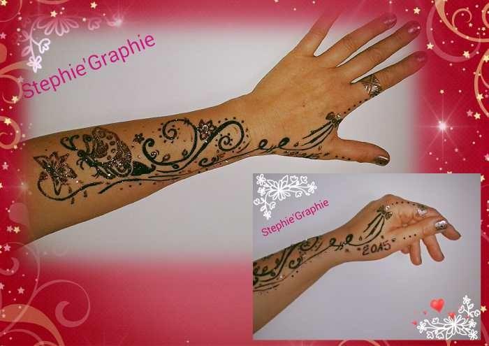 Tatoo réalisé à main levée (marqueur spécial peau + paillettes)